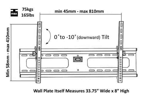 "Ultra-Slim Black Adjustable Tilt/Tilting Wall Mount Bracket for NEC X552S-AVT 55"" inch LED Commercial Display - Low Profile"