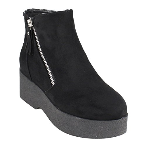 Beston EJ24 Women's Fashion Casual Side Zipper Platform Wedge Ankle Booties, Color Black, Size:9 (Platform Side Zipper)