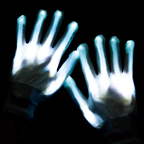 lychee LED Light Up Gloves 6 Adjust Modes Lights Toys Rave Gloves for Kids&Adults Party/Light Show /Glow Party/Halloween/Christmas/Birthday Gift (White) ()