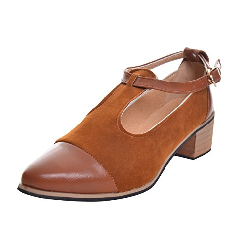 Dear Time Women Patchwork Buckle Oxford Flats Brown 37