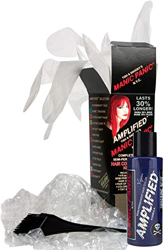 Manic Panic Shocking Blue Amplified Hair Coloring Kit - Vegan Semi-Permanent Blue Hair Dye Cream - 3X Pigments & Lasts 30% Longer Than Classic Voltage (6-8 Weeks) - PPD & Ammonia-free - Ready to Use