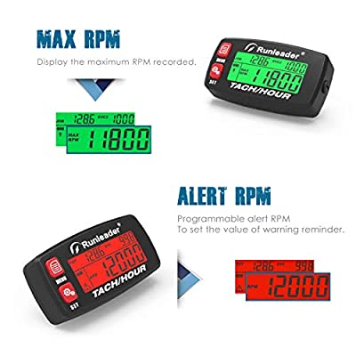 Runleader Hour Meter Tachometer,Maintenance Reminder,Alert RPM,Backlit Display,Initial Hours Setting,Battery Replaceable,Use for ZTR Mower Generator Marine ATV and Gas Powered Device. (Button-Red): Garden & Outdoor