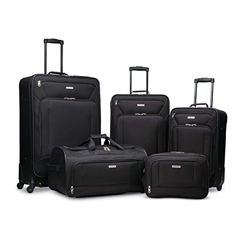 American Tourister Fieldbrook XLT 5pc Set (bb/wh Dfl/21/25 Upr/29 SPN)), Black