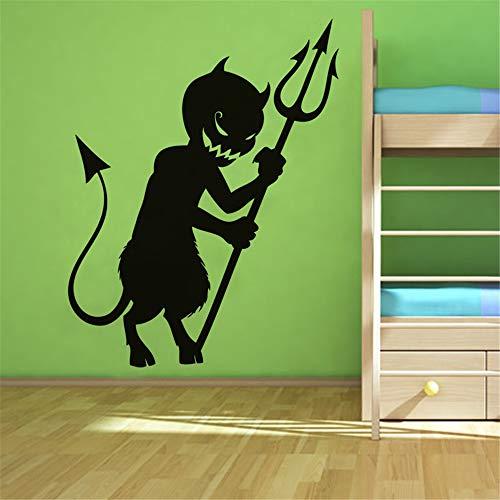 Quotes Wall Sticker Mural Decal Art Home Decor Children Bedroom Cartoon Devil Halloween for Kids Gift -