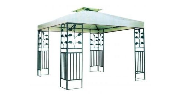 Carpa con estructura metálica – Cenador Beige/Marrón Oscuro: Amazon.es: Jardín