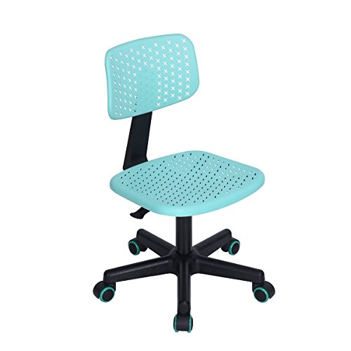 HOMY CASA Hollow Armless Swivel Office Computer Desk Chair Kids Study Chair PU Colorful Wheels, Turquoise by HOMY CASA
