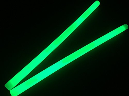 "Glow Sticks Bulk Wholesale, 10 12"" 15mm Dia. Green Industrial Grade Jumbo Light Sticks, Bright Color, Glow 14 Hrs, Safety Glow Stick 3yrs Shelf Life, Ideal for Camping & Emergency, GlowWithUs Brand -"
