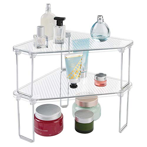 (mDesign Corner Plastic/Metal Freestanding Stackable Organizer Shelf for Bathroom Vanity Countertop or Cabinet for Storing Cosmetics, Toiletries, Facial Wipes, Tissues, 2 Pack - Clear)