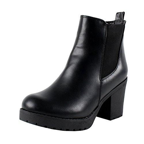 Refresh Club-01 Women's Elastic Panel Slip On Chunky Heel Ankle Booties,Black,7