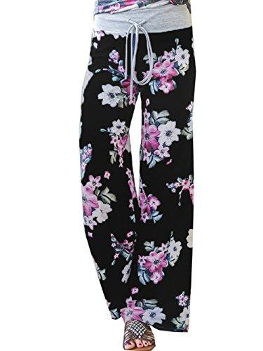 (iChunhua Women's Comfy Stretch Floral Print Drawstring Long Wide Leg Lounge Pants L Black #6)