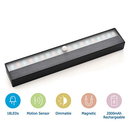 YouSheng Wireless Motion Sensor Lighting Magnetic Led Light Strip Super Bright Portable Cabinet Light with 18 LEDs, Bulit-in Rechargable Battery, for Closet, Bed, Stairs, Kitchen, Hallway