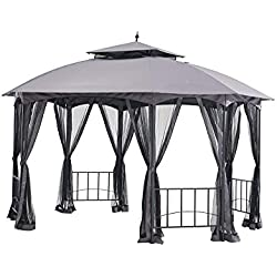 Sunjoy Large Capri Gazebo with Netting, 12' by 10', Gray