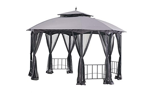 - Sunjoy Large Capri Gazebo with Netting, 12' by 10', Gray
