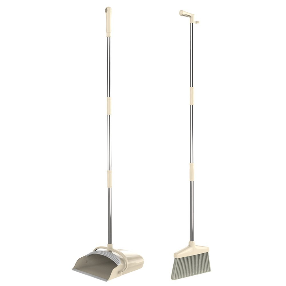 GDORUN Broom and Dustpan Set,Grips Sweep Set and Lobby Broom Combo Upright Grips Sweep Set with Extendable Broom,47 Inch Overall Height Home Office Use
