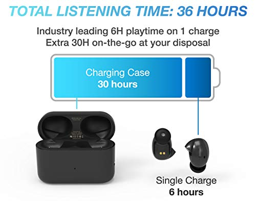 Wireless Earbuds, GoNovate Airo True Wireless Headphones BT 5.0 Earbuds 36 Hour Playtime Deep Bass Stereo Sound, Support Binaural Call with CVC Noise Cancelling, Waterproof with Charging Case