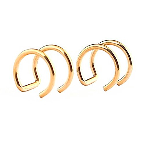 SummShine Surgical Steel Non-Pierced Clip On Earrings Fake Ear Nose Cartilage Cuff Ring (Gold (Cuff Gold Earrings)