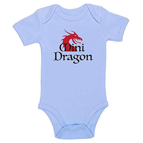 Kinacle Mini Dragon Baby Bodysuit (0-3 Months, Blue) -