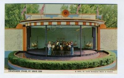 St Louis Zoo Chimpanzee Stage Show Postcard 1953