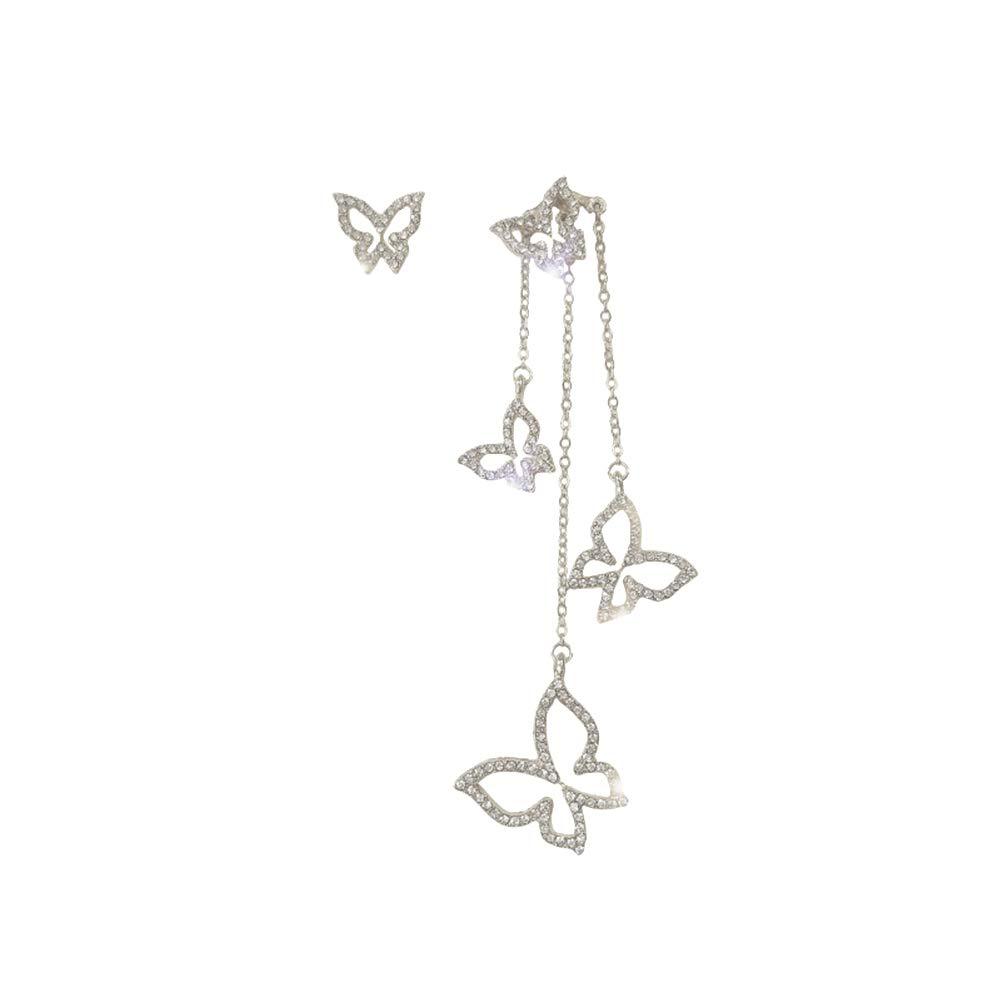 Women Asymmetric Hollow Rhinestone Butterfly Heart Ear Stud Long Chain Earring - Silver Butterfly
