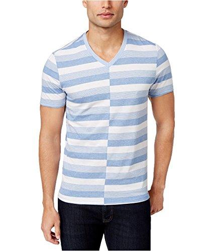 Inc International Concepts Mens Alternating Striped T Shirt  Medium  Water Blue