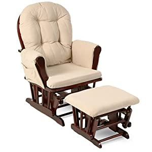 Beige Bowback Nursery Baby Glider Rocker Chair with Ottoman, Beige Cushions – Cherry Finish – Padded Arms – Baby Rocker Nursery Furniture – These Wooden Baby Rocking Chairs Are Built with Exceptional Quality!!