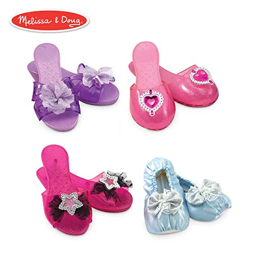 Melissa & Doug Role Play Collection, Step In Style! Dress-Up Shoes, Pretend Play, Set (4 Pairs), 11