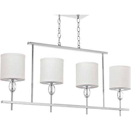 Progress Lighting P4138-15 4 LT Linear Chandelier with K9 Glass Accent/Fabric Shade