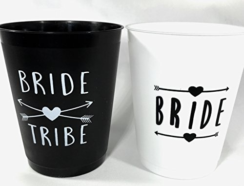VRB Bride Tribe Cups- White & Black- 16 oz Cups 12 Count, 1 White Bride Cup, 11 Black Bride Tribe Cups, for [Weddings], [Bridal Showers], [Engagement & Bachelorette Parties] Classic Flair White Cup