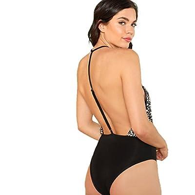 Romwe Women's V Neck Halter Sleeveless Backless Sequin Sexy Bodysuit: Clothing