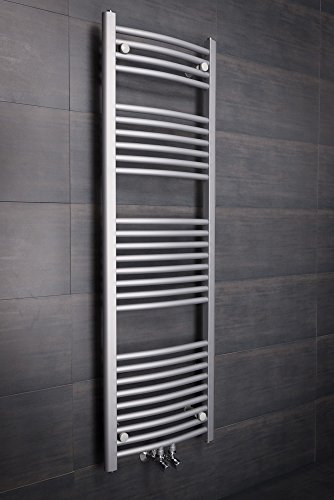 Handtuchheizkörper Badheizkörper Handtuchwärmer 1450x450mm Silber
