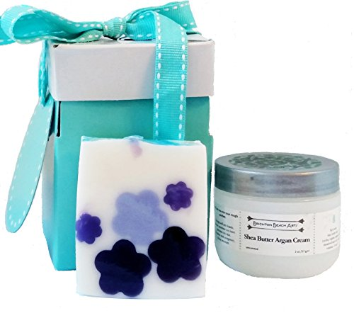 Giftwrapped Natural Shea Butter and Argan Oil Hand Care Gift Set with Lilac & Violet Bliss Enriched Shea Butter Soap, ready to present for last-minute gift