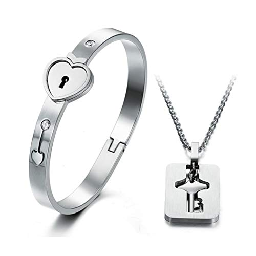 Titanium Stainless Steel Heart Lock Bangle Bracelet Key Necklace Lover Jewelry Set for Couple Men Women (A Set)