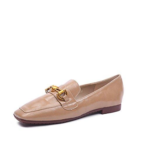 Angrousobiu Den aus Damen Schuhe aus Den weichem Leder, flache Unterseite kleine Leder Schuhe Damen Schuhe Beige 4129f6