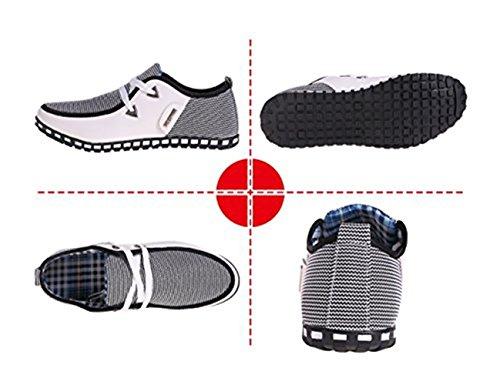 Up Lace Mocasines Zapatos Plano Lona Cuero Casual Conducción Blanco LIEBE721 bajo Hombre de Corte IqvwnRz8