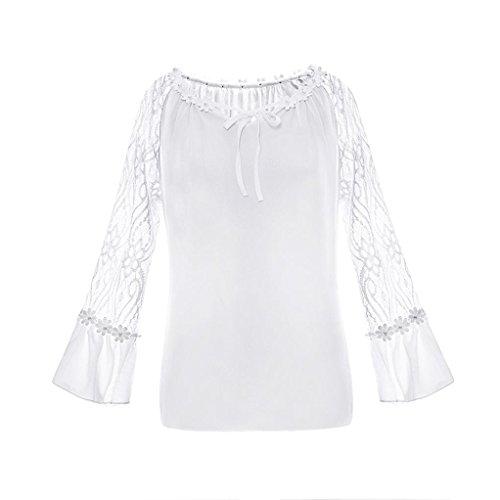 Manches Blanc Cou Soie O Shirt T de en Longues Blouse Mousseline Dentelle MuSheng Femmes Casual TAxEZE