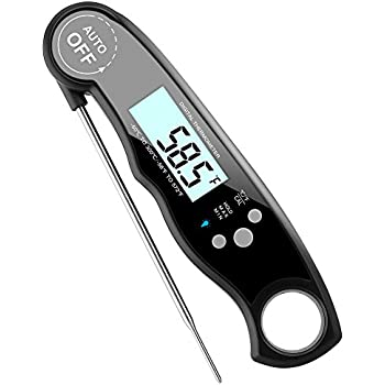 GDEALER Waterproof Meat Thermometer Digital Super Fast Instant Read Thermometer BBQ Thermometer with Calibration and Backit Function Cooking Thermometer for Food, Candy, Milk, Tea, BBQ Grill Smokers