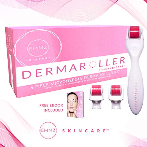 Derma Roller Microneedle 5 Piece Kit - Face Roller, 3 Extra