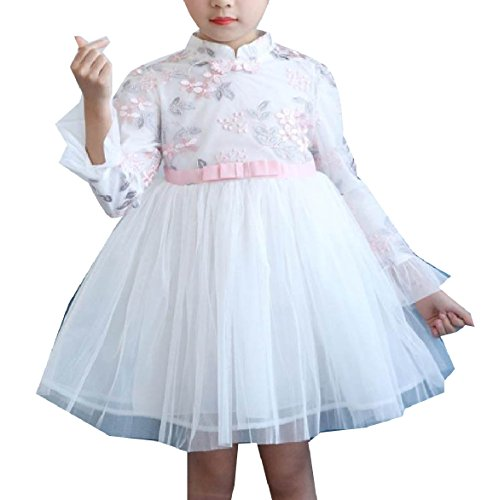 Abetteric Kids Mesh Photography Dress Embroidery Party Wedding Dresses White 140