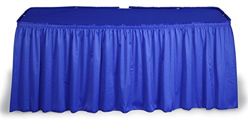 Displays2go Shirred Table Skirt with Cover for 6 or 8-Feet Tables, Royal Blue ()