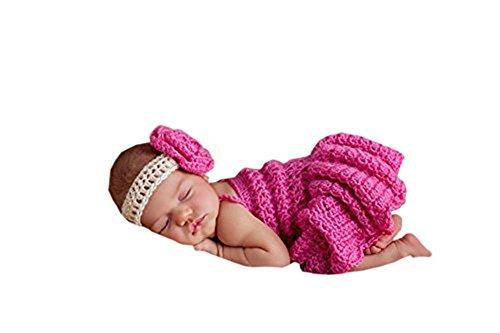 Pinbo Baby Girls Photography Prop Flower Headband Dress Crochet Knitted Costume ()