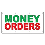 Money Orders Green Red 13 Oz Vinyl Banner Sign With Grommets 5 Ft x 12 Ft