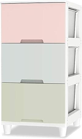 WANGYONG Cajonera de 3 Capas, hogar Armario de Almacenamiento Simple Dormitorio Mesita de Noche Caja de Juguetes for niños Armario for bebés Caja de Almacenamiento de Ropa 34x42x76cm CTGUI: Amazon.es: Hogar
