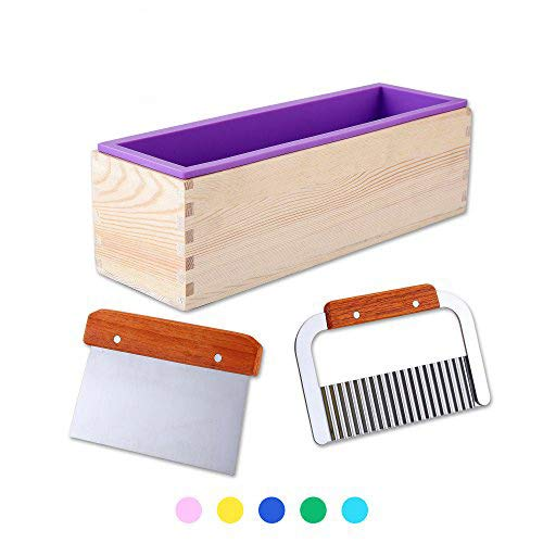 1 Purple Flexible Rectangular Silicone Soap Mold with Large Pine Wood Box for Homemade Produce 1.2 Kg Art Craft Soap Making Mold + 2 Pcs Cutter Peeler Slicer Knife Home - Soap Molds Cutters