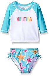 Nautica Sportswear Baby Girls\' Starfish Nautica Rashguard Set, Light Turquoise, 24 Months
