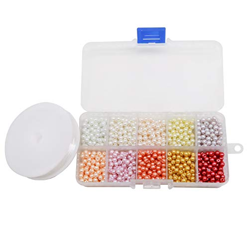 TOAOB 1000pcs 4mm Round Multi Colors Glass Pearl Beads Loose Spacer Beads with 1 Roll Elastic Stretch String Kit for Jewelry Making