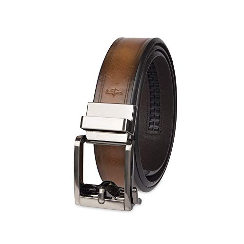 (Dockers Men's 1.3 in. Wide Perfect Adjustable Click to Fit Belt, tan stitch, Small (32-34))