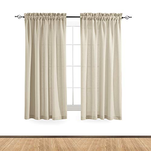 Linen Textured Sheer Curtain Panels for Living Room Privacy Semi Sheer Beige Voile Window Curtains for Bedroom 72 inches Long 2 Panels Casual Weave Textured Curtain Panels