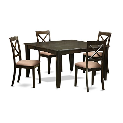 East West Furniture PFBO5-CAP-C 5Piece Dining Set-Square Dining Table with Leaf & 4 Dining Chairs