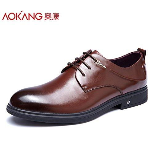 Aemember nella caduta di uomini vestiti di business scarpe scarpe Ufficio testa rotonda Scarpe Uomo marrone,39,