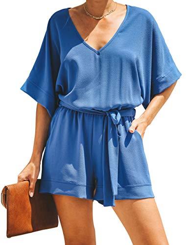 - Floral Find Womens V Neck Short Dolman Sleeves Romper Casual Elastic Waist Tie Jumpsiut with Pocket Blue